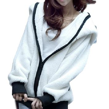 [14383] Cute Korean With A Hat Panda Suede Sweater Soft Cotton Jacket