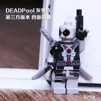 Single Sale Super Heroes X-Man Custom MOC Gery Deadpool With Weapons Model Building Blocks Bricks Children Gift Toys 0258