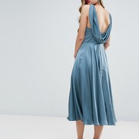 ASOS WEDDING Premium Drape Cowl Back Midi Dress at asos.com