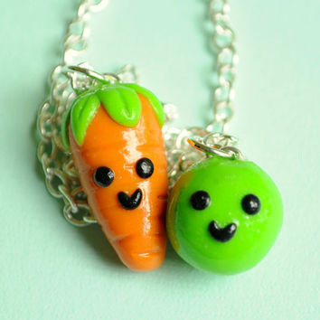 Pea and Carrot Best Friend Necklaces