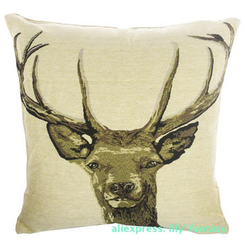 Retro Vintage Stag Buck Deer Home Decorative Thick Knitted Cotton Linen Pillow Case Cushion Cover 18'' 45CM
