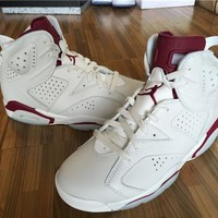 【FREE SHIPPING】Air Jordan 6 Maroon Retro Off White New Maroon Basketball Sneaker 384664-116