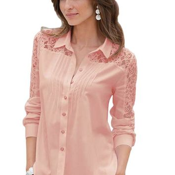 Pink Lace Splice Long Sleeve Button Down Shirt
