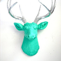 Faux Taxidermy Deer Head wall mount wall hanging home decor in aqua and silver: Deerman the Deer Head
