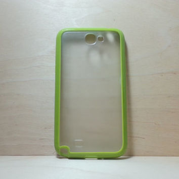 Samsung Galaxy Note 2 Case Silicone Bumper and Translucent Frosted Hard Plastic Back - Grass Green