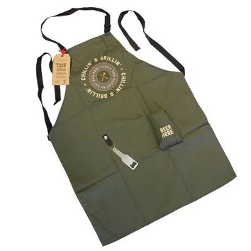 'Cue & Brew Barbecue Apron with Bottle Opener and Beer Pocket