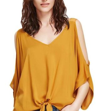 Women Blouses Mustard Cold Shoulder Elegant V Neck Tops Knot Front Casual Clothing Fashion Beach Blouse