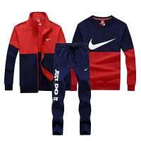 Nike Fashion Casual Cardigan Jacket Coat Top Sweater Pants Trousers Set Three-Piece-2