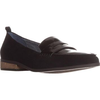Dr. Scholls Eclipse Flat Penny Loafers, Black Suede, 9.5 US / 39.5 EU