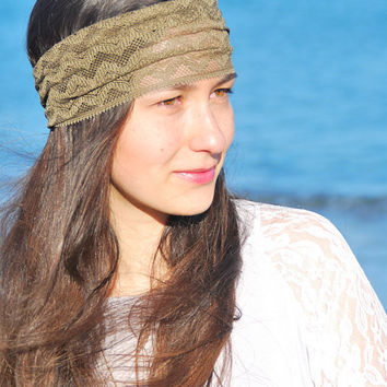 Summer music festival headband, Khaki lace headband, festival hair decoration, stretchy lacy hair bands,  boho headband, hippie headband.