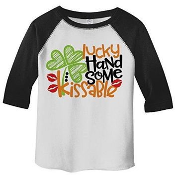 Shirts By Sarah Toddler Boy's Lucky Handsome Kissable T-Shirt ST. Patrick's Day Raglan Tee 3/4 Sleeve