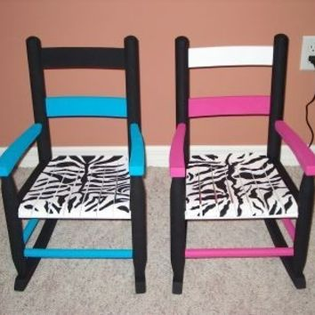 Rocking Chair and Step Stool SET Animal Print Child Furniture Africa Zebra Giraffe Leopard Hand-Painted Wood Hot Pink Blue