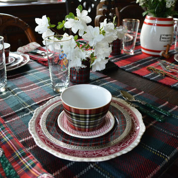 Red Tartan Plaid Houndstooth Reversible Oversized Blanket Scarf / Shawl or Table Runner - Extra Long Thick & Wide