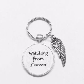 Watching From Heaven Guardian Angel Wing Keychain