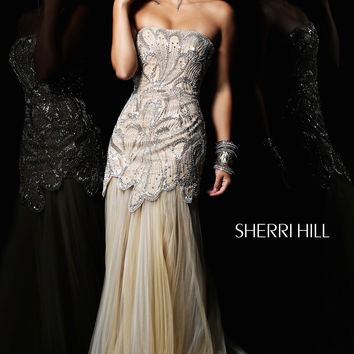 Sequined Strapless Sherri Hill Gown  21096