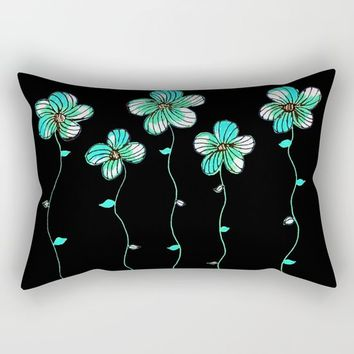 Green Flowers Rectangular Pillow by ES Creative Designs