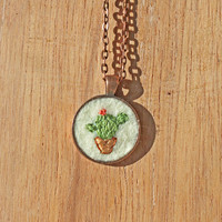 Embroidered Cactus Pendant Necklace
