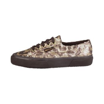 Superga Yellow Sequin Camouflage Sneakers