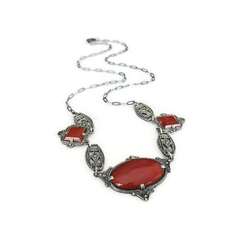 Art Deco Necklace, Sterling Silver, Carnelian, Marcasite, Choker Necklace, Sterling Necklace, Art Deco Jewelry, Antique Jewelry