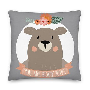 You Are Beary Loved Square Throw Pillow