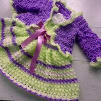 Purple Vanilla Bring home baby girl outfit Knit baby dress Purple baby clothing Newborn dress, infant frock crochet bolero Lilac baby outfit