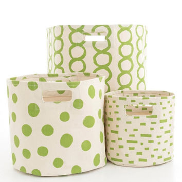 Canvas Green  Storage Bins