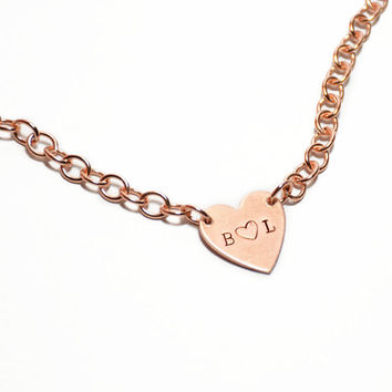Valentine's Day Gift for Her // Customizable Handmade Copper Heart Tiffany Style Heart Tag Necklace with Link Chain, Rose Gold Tone Pendant