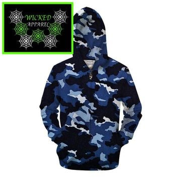 Wicked Apparel Navy Camo Hoodie #448
