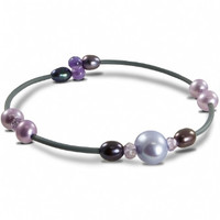 """Off the Cuff: 7.5"""" Stackable Bracelet with Lavender & Pink Freshwater Pearls & Amethyst"""