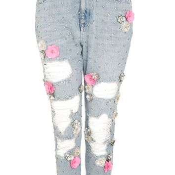 MOTO Bleach Floral Diamante Mom Jeans | Topshop