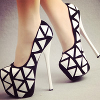 Thin heels black & white sexy tiangao platforms