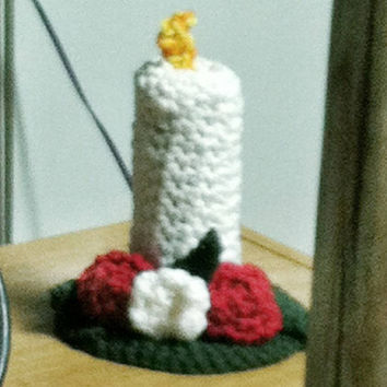 Floral Candlestick Crochet Holiday Home Decor