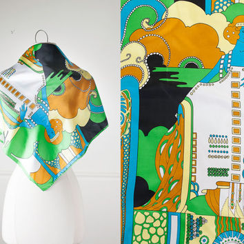 1960s Psychedelic Scarf | 60s Style Pop Art Scarf Abstract Print Groovy 60s Scarf Mod Scarf Neon Neck Scarf Head Scarf Square Scarf Retro