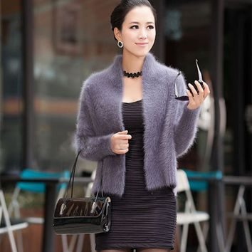 Real mink cashmere sweater women pure cashmere cardigan winter 100% mink cashmere cool coat fur waistcoats free shipping