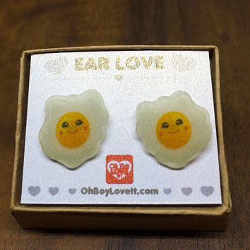 Kawaii Earrings | Kawaii Egg Earrings | BOXED | Handmade | Hypoallergenic Shrink Plastic non metal jewelry | Made in Canada