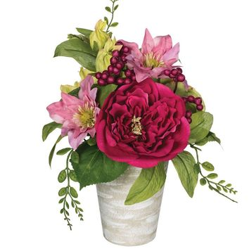 """Artificial Flower Arrangement of Pink Peony and Clematis - 11"""" Tall"""