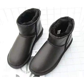 UGG Autumn And Winter Women New Fashion Solid Color Keep Warm High Quality Snow Boots Shoes Black