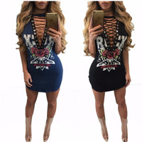 New Coming Women Fashion Dress Sexy Ladies Hollow Out Design Lace Up Mini Dress Pefect For Nigh Club Hottest Package Hips Dress
