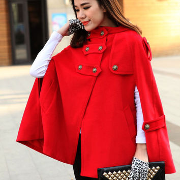 Outerwear Hooded Cape Coat Double Breasted Wool Women Coat Sleeveless Hooded Coat Cloak-WH016 M,L