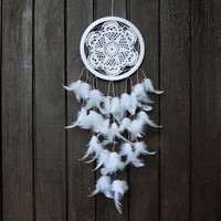 Large Dream Catcher for Wedding or Nursery Decor - Bohemian Decoration, Interior Design, Tribal Decor, Crochet Dreamcatcher, White
