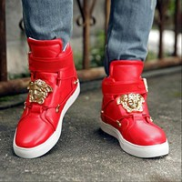 Versace Women Men High Help Sneakers Fashion Trending Running Sports Shoes Red G