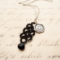Personalized initial pendant necklace monogram letter wax seal handmade lace jewelry retro vintage inspired bridesmaid gift - black