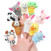 10 Pcs Finger Puppets Baby Plush Toys Talking Props 10 Animals