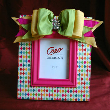 Handmade 5x7 Wood Picture Frame // Pink Harlequin Photo Frame // Bow Rhinestone Bling // Tween // Nursery