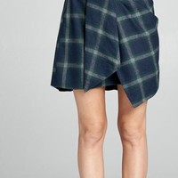 FLANNEL TIED PLAID SKIRT