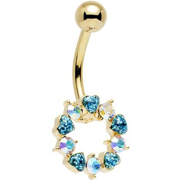 Aurora and Aqua Gem Gold Plated Heart Wreath Ring Belly Ring