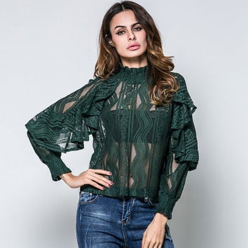 The new lotus leaf collar sleeve lace blouse Perspective [9908202445]