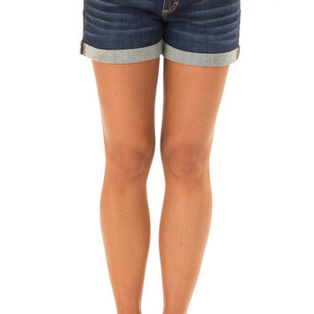 Dark Wash Denim Low Rise Cuffed Shorts