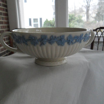 Wedgwood Queens Ware Vintage Bowl 1920s Blue and White China Elegant Tableware