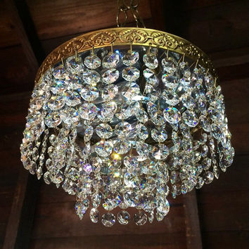 Vintage Italian Swarovski Crystal Chandelier Light fixture Flush Mount 1950s